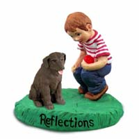 Labrador Retriever Chocolate Reflections w/Boy Figurine