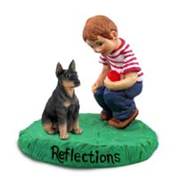 Doberman Pinscher Black w/Cropped Ears Reflections w/Boy Figurine