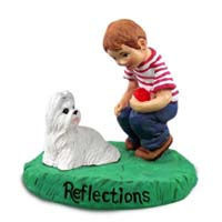 Shih Tzu White Reflections w/Boy Figurine