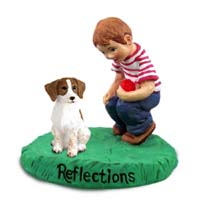 Brittany Brown & White Spaniel Reflections w/Boy Figurine