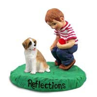 Saint Bernard w/Rough Coat Reflections w/Boy Figurine