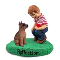Boxer Tawny Reflections w/Boy Figurine
