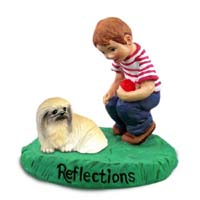 Pekingese Reflections w/Boy Figurine