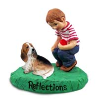Basset Hound Reflections w/Boy Figurine