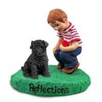 Shar Pei Black Reflections w/Boy Figurine