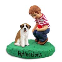 Saint Bernard w/Smooth Coat Reflections w/Boy Figurine