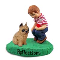 Brussels Griffon Red Reflections w/Boy Figurine