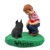 Brussels Griffon Black Reflections w/Boy Figurine