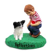 Papillon Black & White Reflections w/Boy Figurine