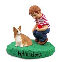 Welsh Corgi Pembroke Reflections w/Boy Figurine