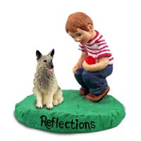 Norwegian Elkhound Reflections w/Boy Figurine