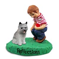 Cairn Terrier Gray Reflections w/Boy Figurine