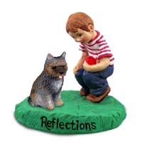 Cairn Terrier Brindle Reflections w/Boy Figurine