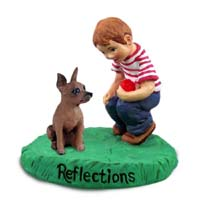 Miniature Pinscher Red & Brown Reflections w/Boy Figurine