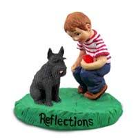 Schnauzer Giant Black Reflections w/Boy Figurine