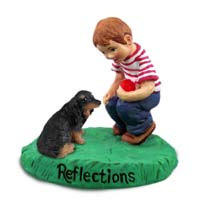 Dachshund Longhaired Black Reflections w/Boy Figurine