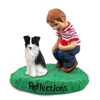 Border Collie Reflections w/Boy Figurine