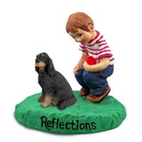 Gordon Setter Reflections w/Boy Figurine