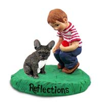 French Bulldog Reflections w/Boy Figurine