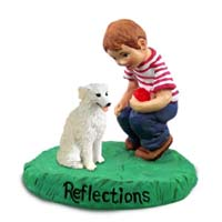 Kuvasz Reflections w/Boy Figurine