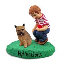 Norwich Terrier Reflections w/Boy Figurine