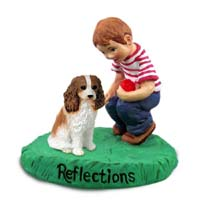 Cavalier King Charles Spaniel Brown & White Reflections w/Boy Figurine
