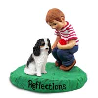 Cavalier King Charles Spaniel Black & White Reflections w/Boy Figurine