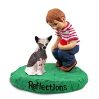 Chinese Crested Dog Reflections w/Boy Figurine