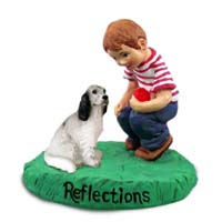English Setter Belton Blue Reflections w/Boy Figurine