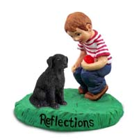 Flat Coated Retriever Reflections w/Boy Figurine