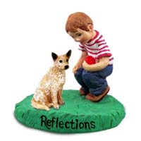 Australian Cattle Red Dog Reflections w/Boy Figurine