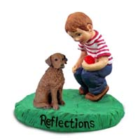 Chesapeake Bay Retriever Reflections w/Boy Figurine
