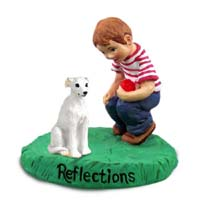 Whippet White Reflections w/Boy Figurine
