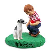Whippet Gray & White Reflections w/Boy Figurine