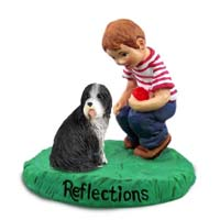 Bearded Collie Reflections w/Boy Figurine