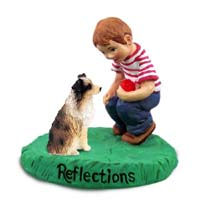 Australian Shepherd Brown w/Docked Tail Reflections w/Boy Figurine