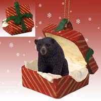 Bear Black Gift Box Red Ornament