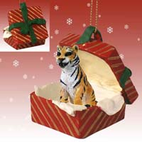 Tiger Gift Box Red Ornament