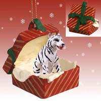 Tiger White Gift Box Red Ornament
