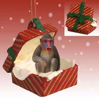 Mandrill Gift Box Red Ornament
