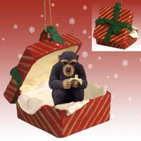 Chimpanzee Gift Box Red Ornament
