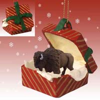 Buffalo Gift Box Red Ornament