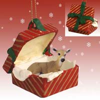 Deer Doe Gift Box Red Ornament