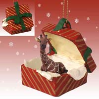 Giraffe Gift Box Red Ornament