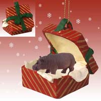 Hippopotamus Gift Box Red Ornament