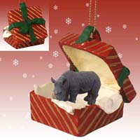 Rhinoceros Gift Box Red Ornament