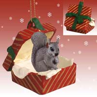 Squirrel Gray Gift Box Red Ornament