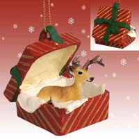 Deer Buck Gift Box Red Ornament