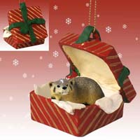 Badger Gift Box Red Ornament