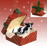Holstein Bull Gift Box Red Ornament